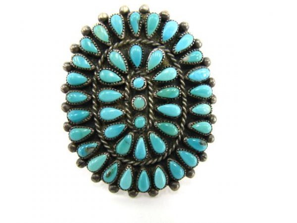 326: NAVAJO PETTI POINT TURQUOISE & STERLING SILVER RIN