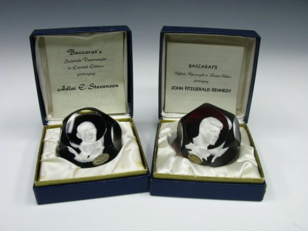 405: TWO SIGNED BACCARAT SULPHIDE PAPERWEIGHTS