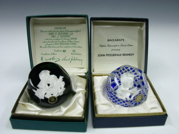 406: TWO KENNEDY SULPHIDE PAPERWEIGHTS
