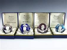 408: THREE SIGNED BACCARAT SULPHIDE PAPERWEIGHTS PLUS D