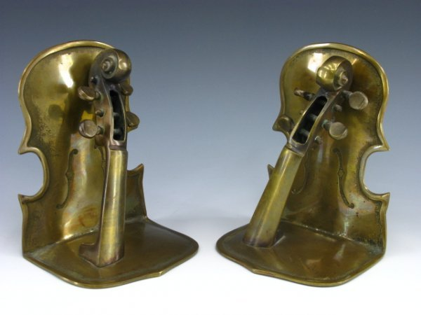 413: PAIR FIGURAL CELLO BRASS BOOKENDS