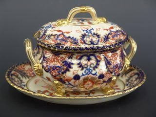 1005: ROYAL CROWN DERBY SAUCE TUREEN WITH UNDERPLATE