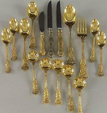 1101: TIFFANY & CO OLYMPIAN GOLD VERMEIL FLATWARE