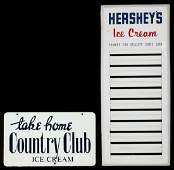 VINTAGE SIGNS FOR HERSHEYS AND COUNTRY CLUB ICE CREAM