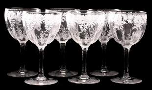 LIBBEY ROCK SHARPE CUT CRYSTAL WINE GLASSES