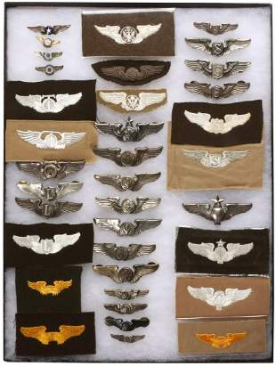 A VALUABLE COLLECTION OF 36 WWII AVIATOR'S WINGS