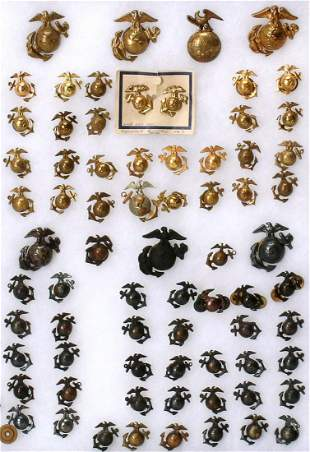 COLLECTION OF 73 WWII MARINES EAGLE GLOBE ANCHOR DEVICE