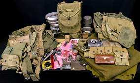 A LARGE LOT OF US WEB GEAR, MESS, AMMO POUCHES AND MORE