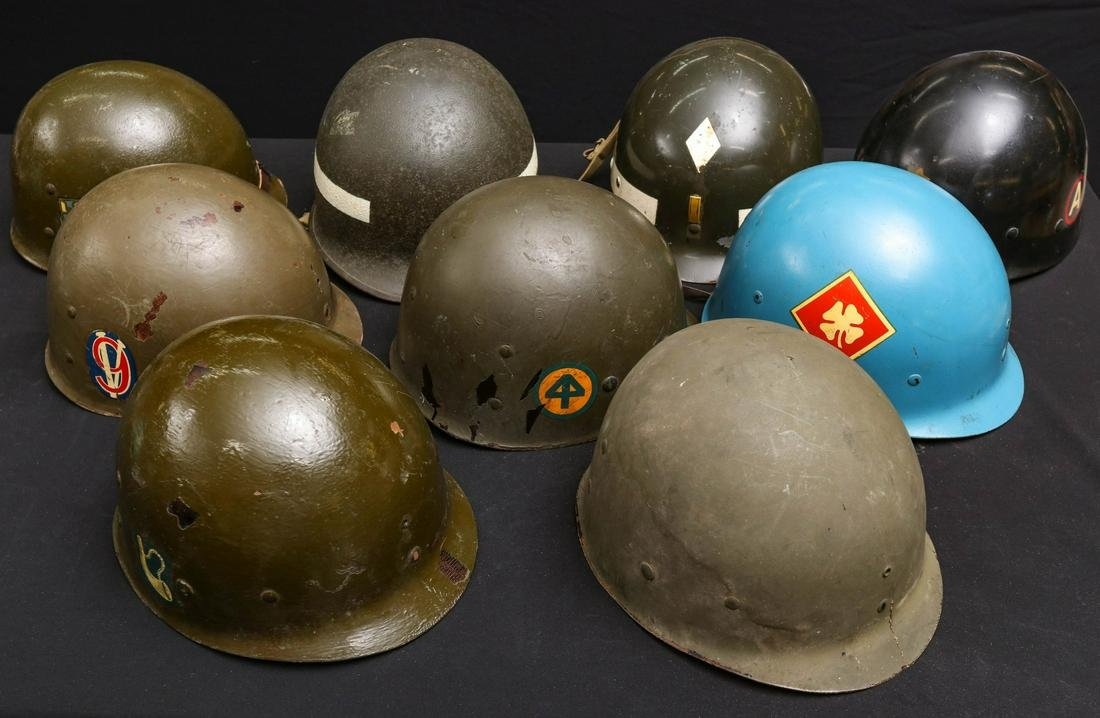 A COLLECTION OF NINE GOOD US MILITARY HELMET LINERS