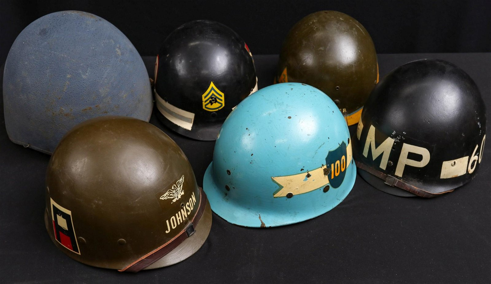 SIX US MILITARY WORLD WAR II HELMETS AND LINERS