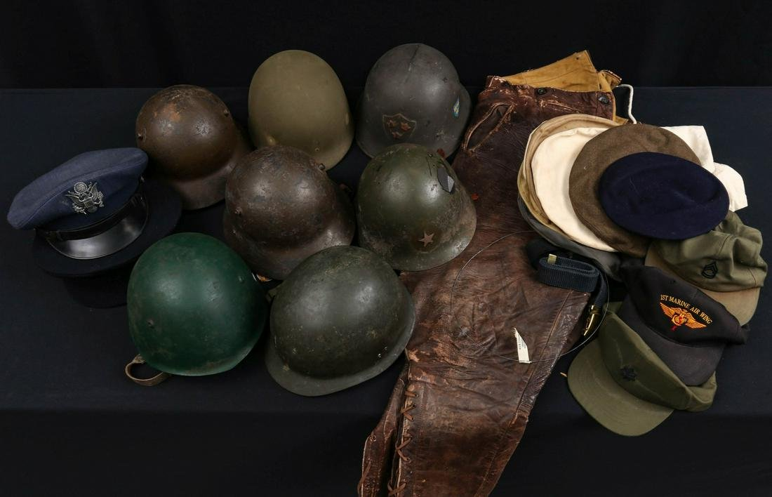 WWI LEATHER AVIATOR'S BREECHES, SEVEN HELMETS, MORE