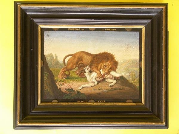 2: 19th C. MICROMOSAIC PLAQUE OF A LION ATTACKING A HOU