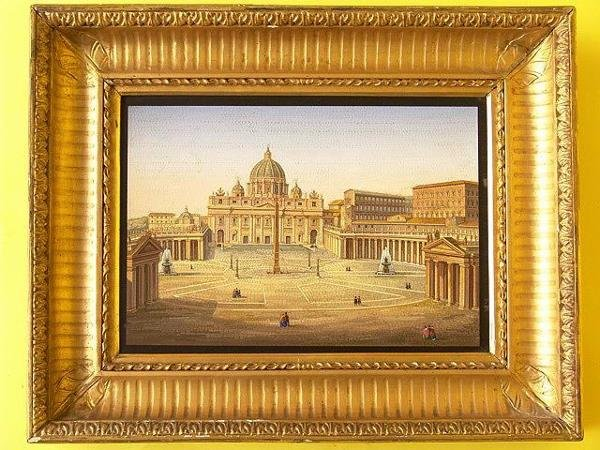 3: LARGE 19TH C. MICROMOSAIC PLAQUE OF ST. PETER'S SQUA