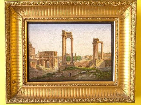 4: LARGE 19TH C. MICROMOSAIC PLAQUE OF THE FORUM