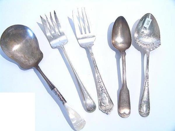 13: STERLING & OTHER SERVING PIECES INCLUDING VINTAGE