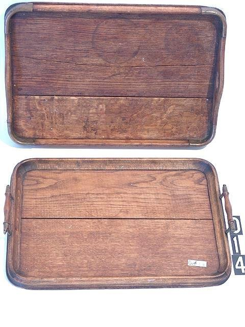 14: TWO ENGLISH OAK SERVING TRAYS