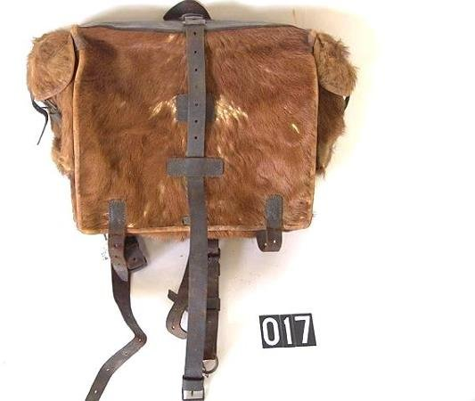 17: GERMAN HIDE AND LEATHER KNAPSACK