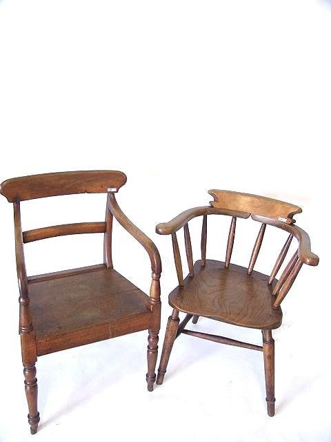 18: EARLY 19TH CENTURY ENGLISH PUB CHAIR PLUS ANOTHER A