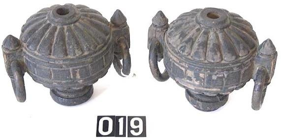 19: PAIR OF EARLY PAINTED WOOD FINIALS WITH BRASS RINGS