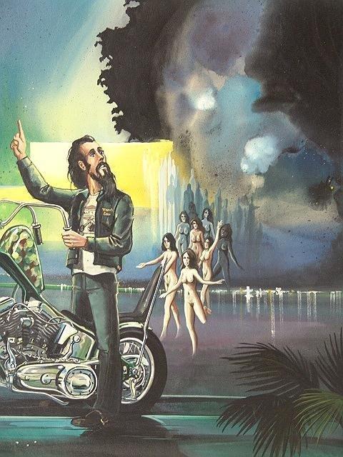 189: PAINTING BY DAVID MANN, EASYRIDER MOTORCYCLE ARTIS - 2