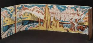 A UNION PACIFIC RAIL MURAL WITH STREAMLINER CITY OF LA