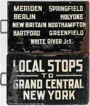 TWO GRAND CENTRAL STATION PAINTED STEEL GATE SIGNS