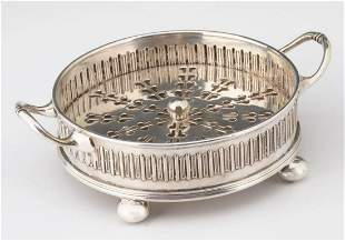 ATSF SANTA FE SILVER PLATE BUTTER SERVER WITH ICER