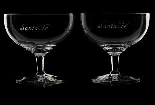 A PAIR OF SANTA FE ETCHED SCRIPT COCKTAIL GLASSES