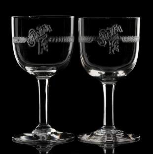 SANTA FE WINE GLASSES WITH EARLY NEEDLE-ETCHED LOGO