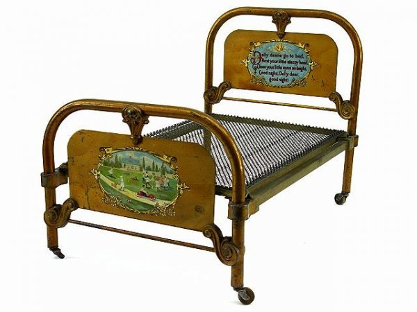 1: THE BEST FANCY DOLL SIZE ANTIQUE IRON BED
