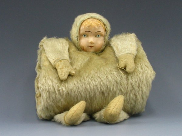 2: ANTIQUE MOHAIR CELLULOID-FACE CHILD'S MUFF