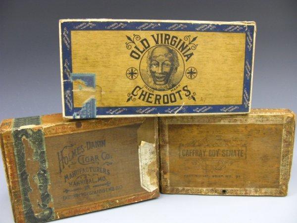 5: 3 WOOD CIGAR BOXES: Missouri Girl, Caffray, Black Ma