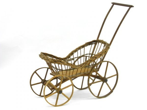 8: ANTIQUE WICKER DOLL BUGGY