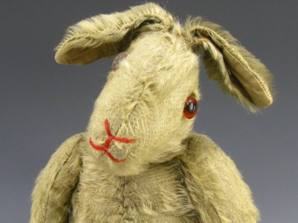 24: VINTAGE JOINTED MOHAIR STRAW STUFFED RABBIT