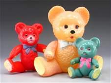 66: 3 VINTAGE JAPAN CELLULOID TEDDY BEARS