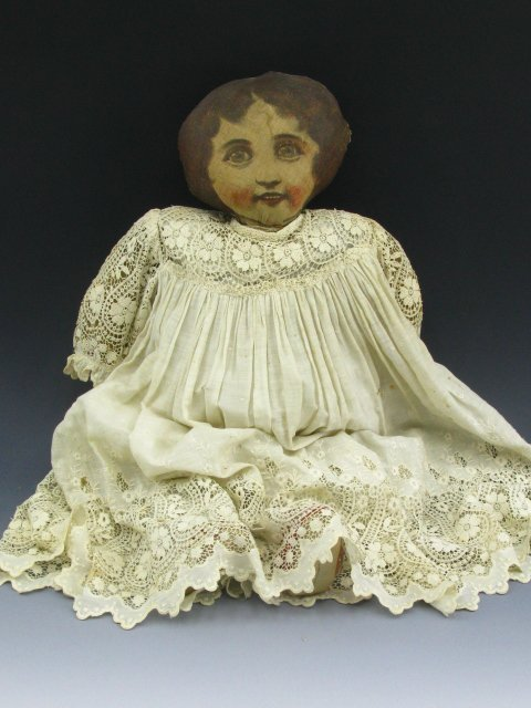 "126: 23"" 1900 FEEDSACK RAG DOLL MISS KORN-KRISP - 2"