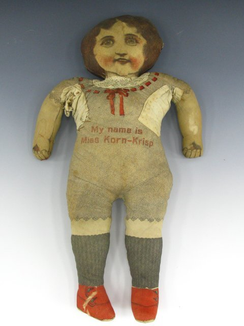 "126: 23"" 1900 FEEDSACK RAG DOLL MISS KORN-KRISP - 3"