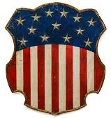 A FINE 19TH C. FOLK ART FEDERAL SHIELD WITH 13 STARS