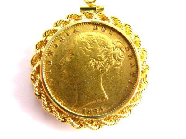 702: ENGLISH 1860 GOLD SOVEREIGN COIN