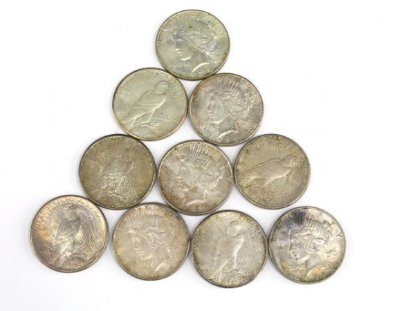 705: LOT OF 10 PEACE SILVER DOLLARS