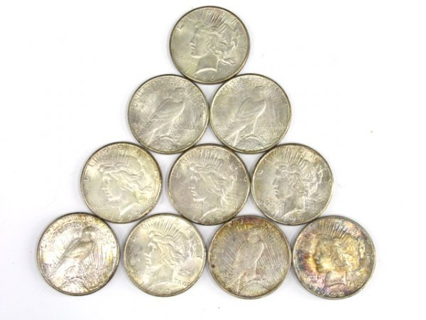 706: LOT OF 10 PEACE SILVER DOLLARS