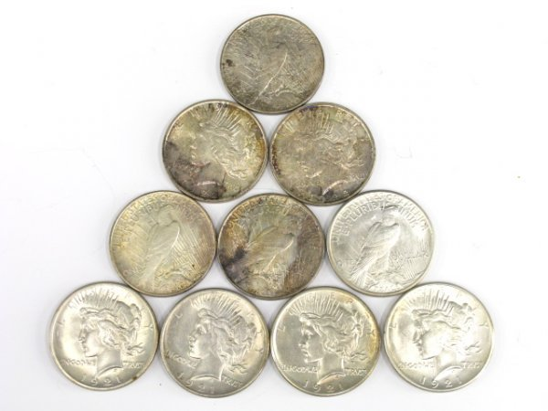 707: LOT OF 10 PEACE SILVER DOLLARS