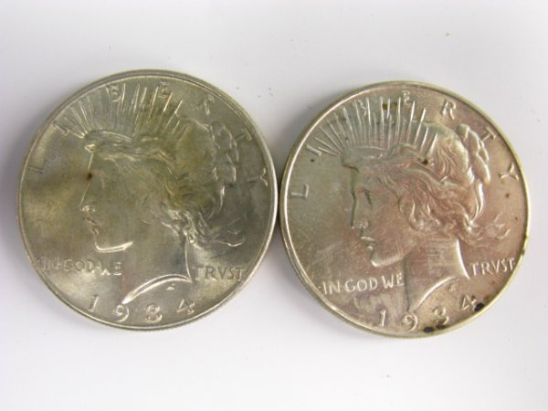710: LOT OF 2 UNCIRCULATED PEACE SILVER DOLLARS