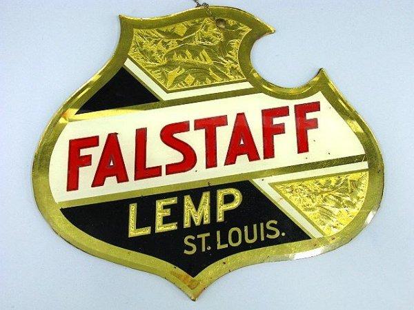 714: RARE LEMP BEER FALSTAFF SHIELD MIRROR SIGN