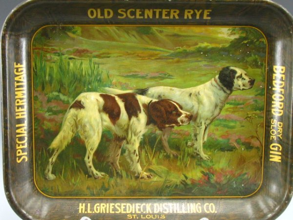 715: H.L. GRIESEDIECK DISTILLING CO. SERVING TRAY TIN