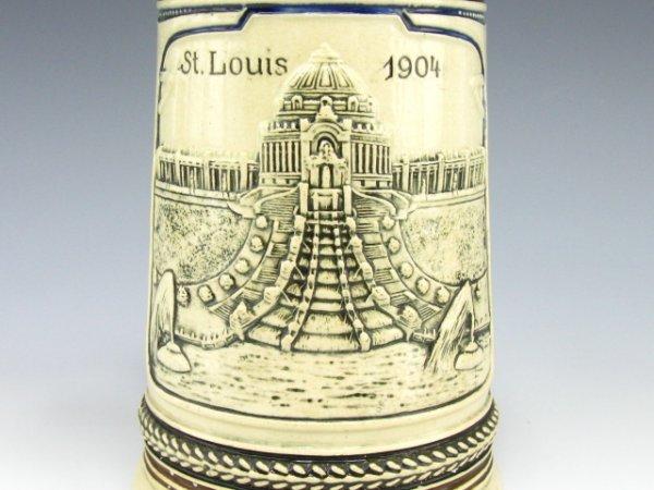 854: 1904 ST LOUIS WORLDS FAIR, BEER STEIN 1/2 L