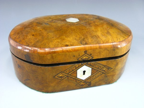 1006: 19th C. BURLED WOOD & MOTHER OF PEARL BOX