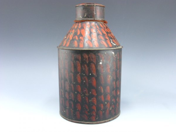 1010: ANTIQUE TOLE PAINTED TIN CONTAINER
