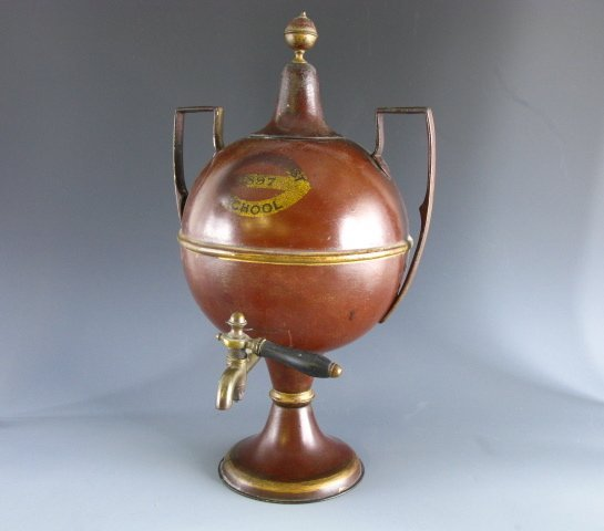 1013: 1897 TOLE PAINTED TIN HOT WATER URN