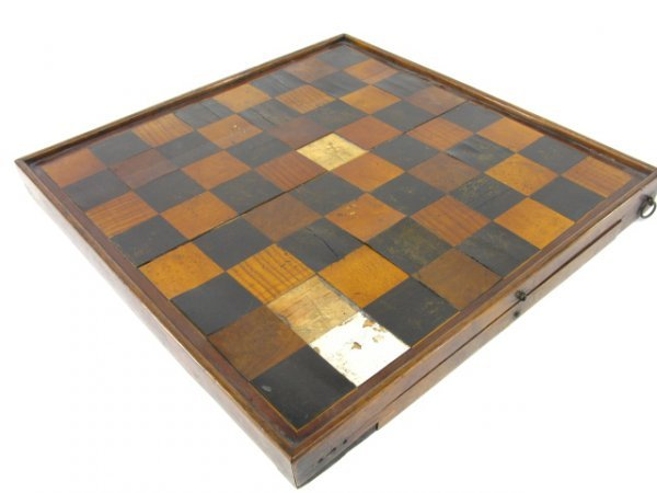1016: 19th CENTURY GAMES BOARD WITH CHECKERS DRAWER
